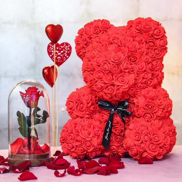 Picture of Large Red Flower Teddy Bear