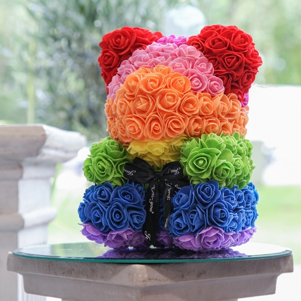 Picture of Medium Rainbow Flower Teddy Bear