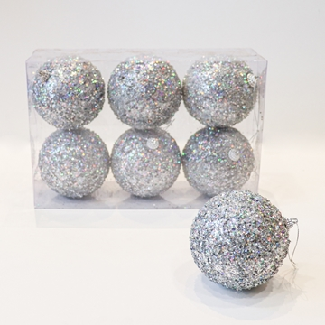 Picture of Large silver glitter Christmas baubles (Box of 6)