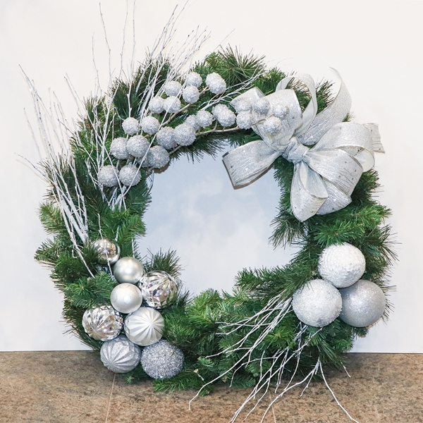 Picture of Artificial Silver bauble wreath