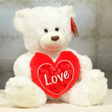 Picture of White Bear With Heart