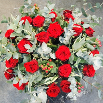 Picture of 24 Red Roses with Berries & Foliage
