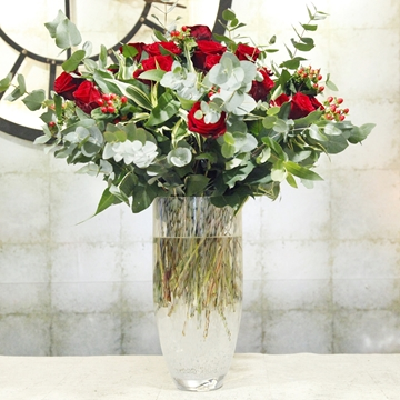 Picture of 24 Red Roses & Eucalyptus In A Vase