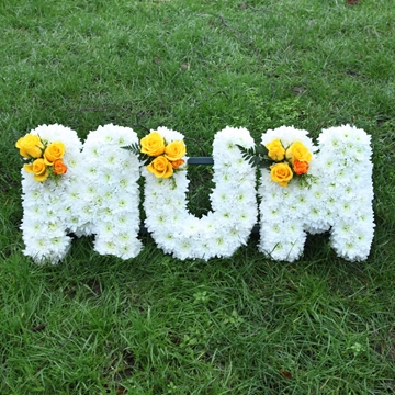 Picture of White and Yellow Mum Sympathy Flowers