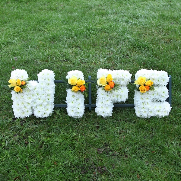 Picture of White and Yellow Wife Sympathy Flowers