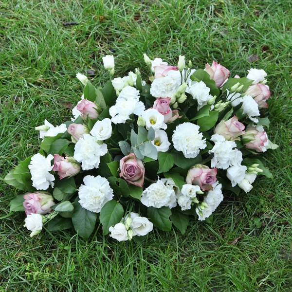 Picture of Vintage White and Purple Sympathy Flowers